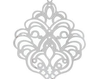 "10 Stainless steel Pendant ""Diamond"", 50 x 39 mm"