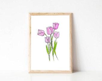 Watercolour tulip flower print, botanical wall art