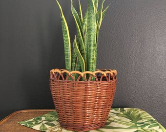 Woven  wicker basket planter /  rattan wicker planter holder