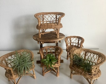 Vintage Wicker Doll Furniture / Doll House Furniture / Vintage Toys / Air  Plant Holders