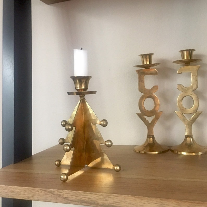 Vintage Brass Christmas Tree Candle Holder.Vintage Brass Christmas Tree Candle Holder Mid Century Brass Candle Holder Brass Candlestick Brass Christmas Decor