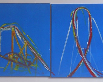 Painted roller coaster, on four canvases