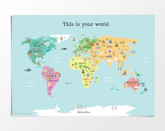 Printable map poster 11x14 in 20x16 in 24x36 in 70x100cm printable kids world map poster a3 11x14 in 24x36 in nursery poster educational print gumiabroncs Image collections