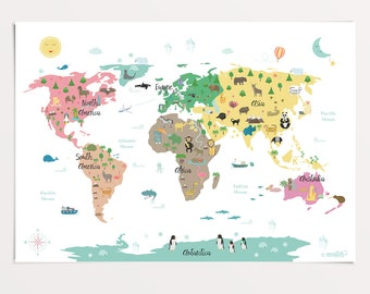 Animal World Map Poster, 50 X 70 Cm, Map For Kids, Nursery Print,  Educational Poster