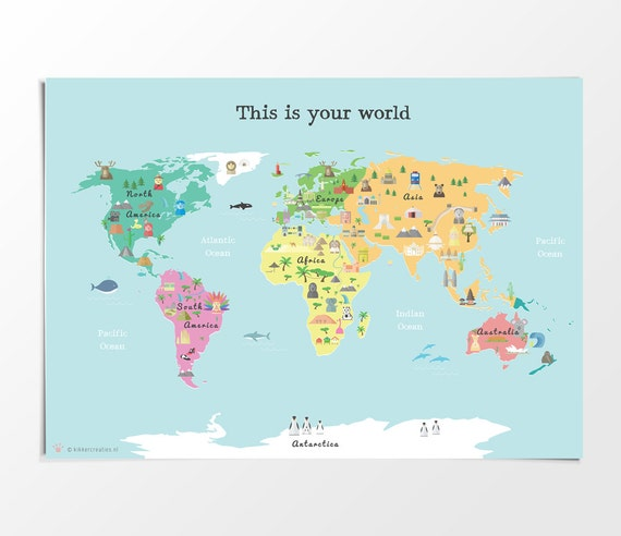 Printable Kids World Map Poster, A3, 11x14 in, 24x36 in Nursery Poster,  Educational Print