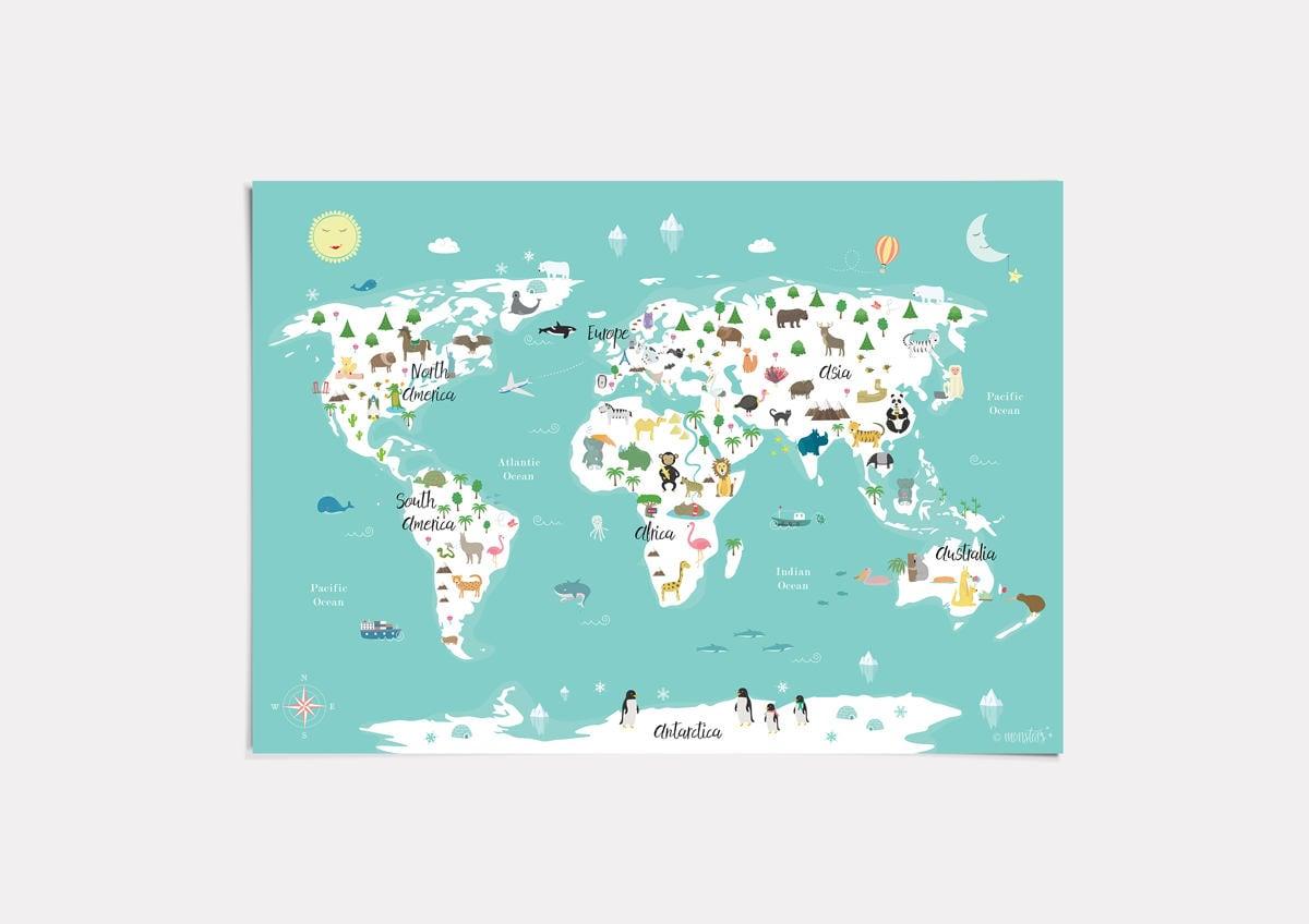Druckbare Tierwelt Karte Poster 14 x 11 20 x 16 30 x 20 36 | Etsy