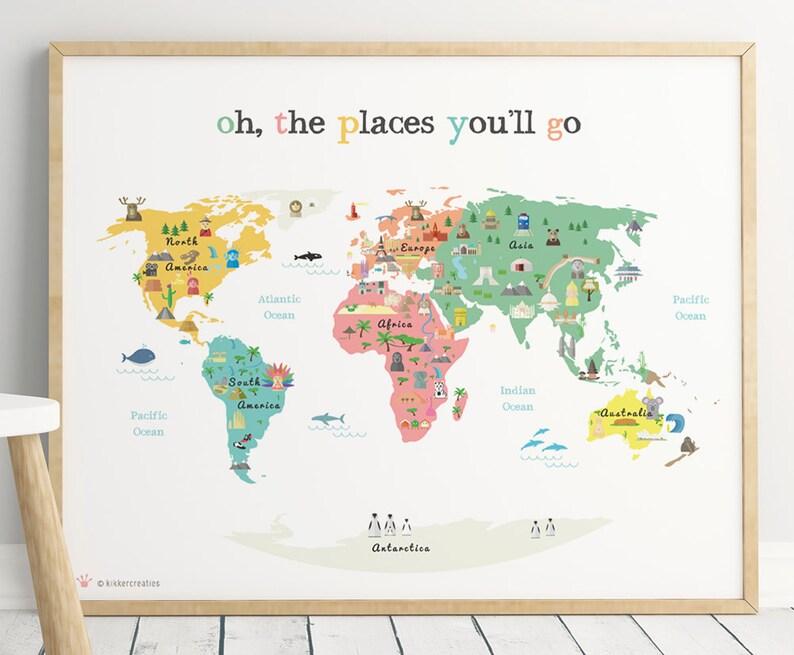 Printable World Map Poster for kids room Digital Instant Map | Etsy