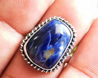 Sodalite Jewelry ring Boho Ring gift Ring,men/'s ring blue sodalite Gemstone Ring sterling Silver Ring KR-125 Sodalite Ring US size-9