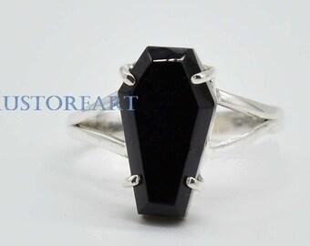 Black Onyx Ring* Coffin Ring* Sterling Silver Ring* Prong Set Ring* Natural Black Onyx* handmade Ring* Boho Ring* Onyx Ring* gift for Mom*