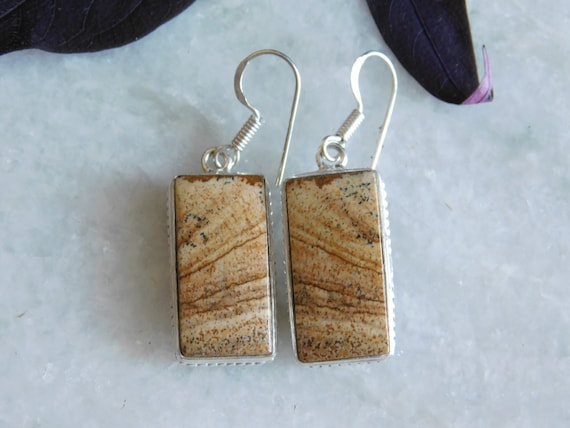 Brown Picture earring,Sterling Silver Earring, jas