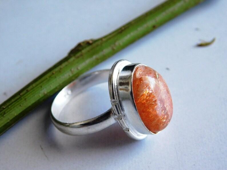 orange sunstone ring KR-103 sunstone jewelry ring,natural stone ring sunstone ring women/'s ring, sterling silver ring US size-8