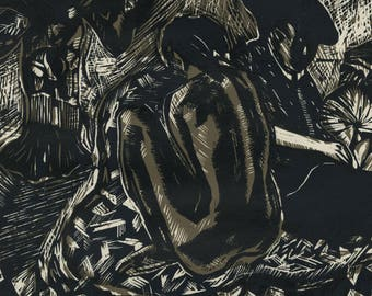 "RICHARD THOMAS UPTON (American, 1931-2013), ""Wanderers Night Song"", 1968, 2-color woodcut, pencil signed."