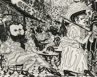 "RED GROOMS (American, b. 1937), ""Cafe Manet"", 1976, etching & aquatint, pencil signed."