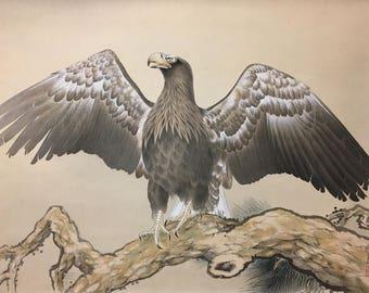 "ITSURYO SHIOZAKI (Japanese, 1884-1974), ""Eagle"", ca. 1930, gouache on silk scroll painting, signed & stamped."