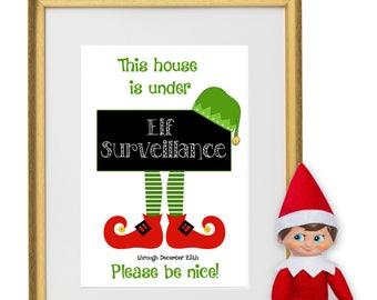 Elf on a Shelf Surveillance Sign | Naughty or Nice | Santa's elf