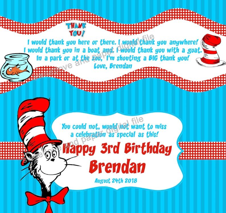 photo about Dr Seuss Happy Birthday to You Printable called Dr. Seuss Birthday Sweet Bar Wrappers Occasion Favors Cat within just the Hat - Printable