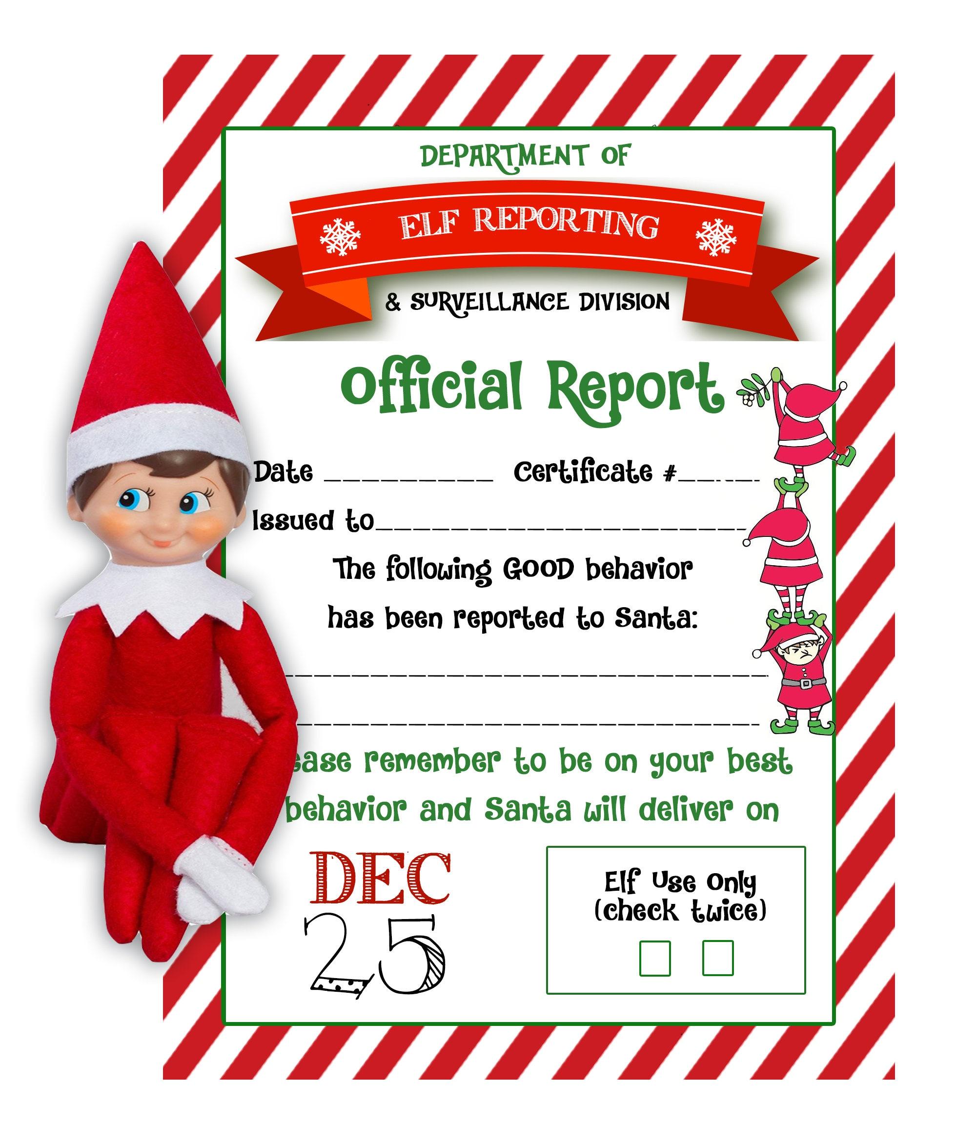Elf on the Shelf Report Naughty or Nice Kids Christmas | Etsy