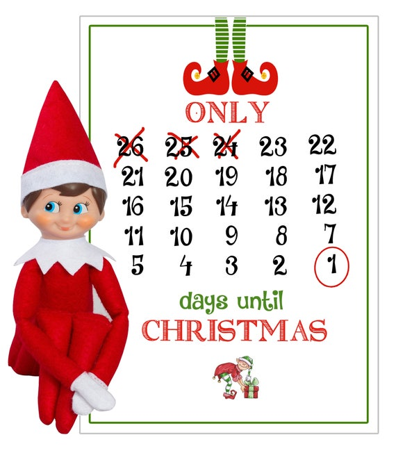 How Many Days Until Christmas Eve.Elf On A Shelf Days Until Christmas Elf On The Shelf