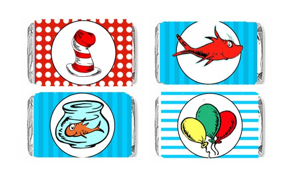 Dr Seuss Birthday Candy Bar Wrappers Party Favors Cat In