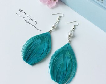 Handmade Design Blue Peacock Feather Earrings Pearl Earrings