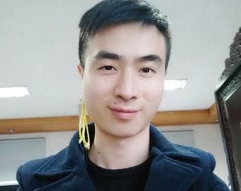 Man Earrings Woman Earrings Yellow Feather Earrings Ear Clip Earrings