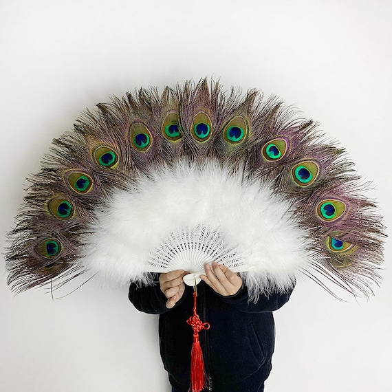 6 FLUFFY FEATHER HAND FANS stage costume party fun dress up feathers handfan NEW
