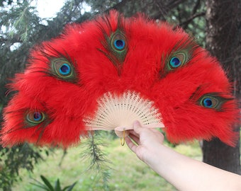 55*30cm Red Yellow Peacock Feather Hand Fans Marabou Feather Hand Fans Peacock Feather Floral Fan Bouquet