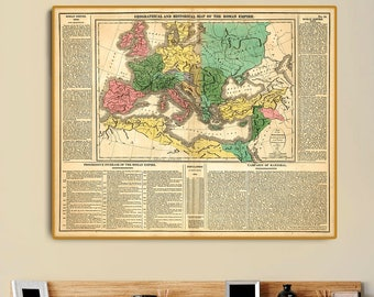 Roman Empire map, 1820.Ancient Rome art, Geographical and Historical Map of the Roman Empire, Roman Empire poster, campaign of Hannibal.