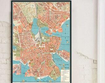 Helsinki Map Art Helsinki Finland Map Wall Art By Jacques Etsy