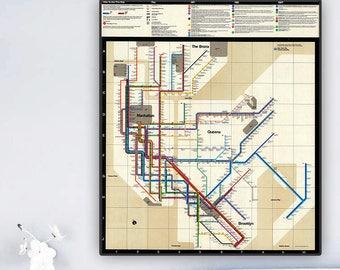 Iconic New York City Subway Diagram, 1972.Schematic of the New York City subway system.Color map designed by Massimo Vignelli.Art print.
