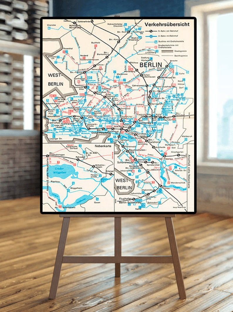 Berlin Wall Subway Map.Berlin Map 1987 Berlin Subway System U Bahn During The Period Of The Berlin Wall East Berlin U S Bahn Berlin Map Print