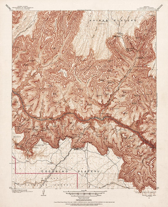 Grand Canyon: Bright Angel by U.S. Geological Survey, 1903. Historical  Grand Canyon map print, Geological map of the Grand Canyon, Arizona.