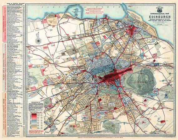 Edinburgh map print 1919. Chronological map of Edinburgh showing expansion  of the City from earliest days to the present, Edinburgh print.