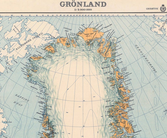 Greenland Map 1937 Vintage Map Of Greenland Gronland Etsy