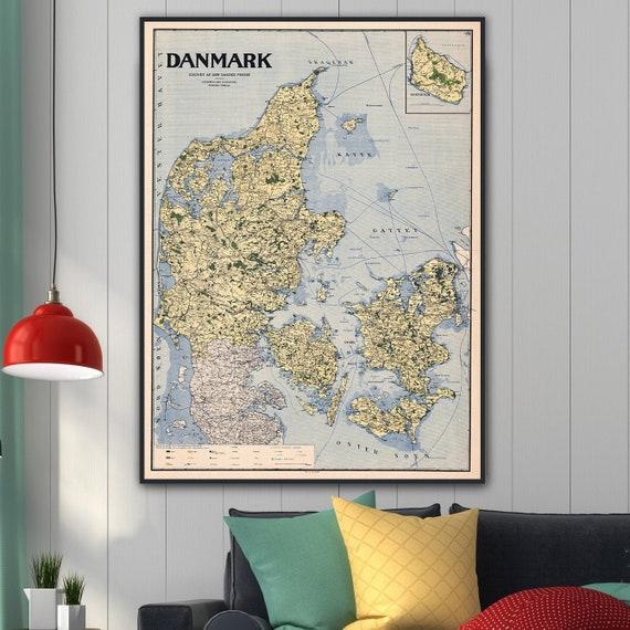 Old Denmark Map 1919 Danmark Kort Denmark Art Print Vintage Etsy