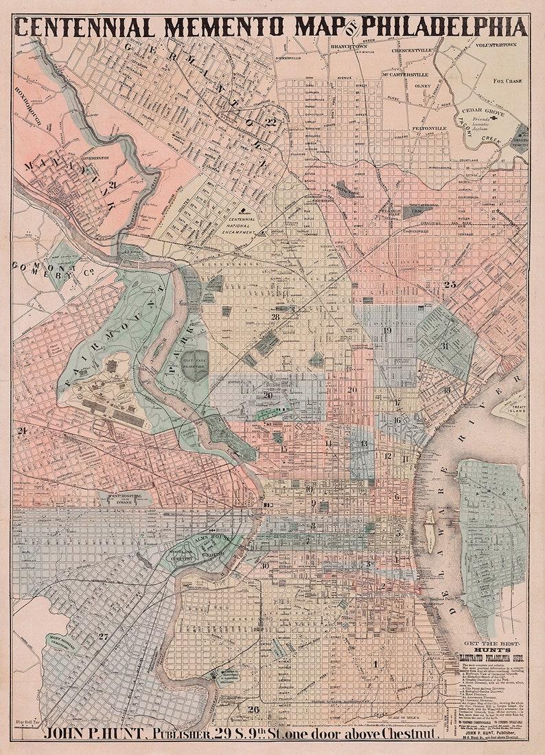 Philadelphia map, 19th century Philadelphia art print, Philadelphia on