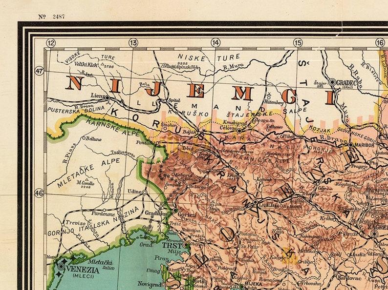Karta Yugoslavia.Yugoslavia Map 1917 Ethnographic Map Of Yugoslavia Etsy