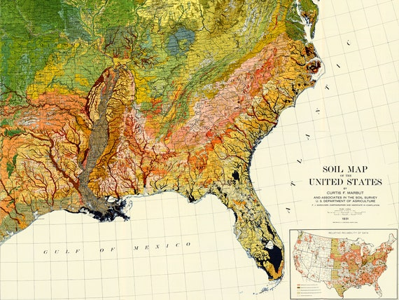 Geological Map of the United States, US map, Atlas of American Agriculture,  a spectacular color atlas map of the United States. US map print