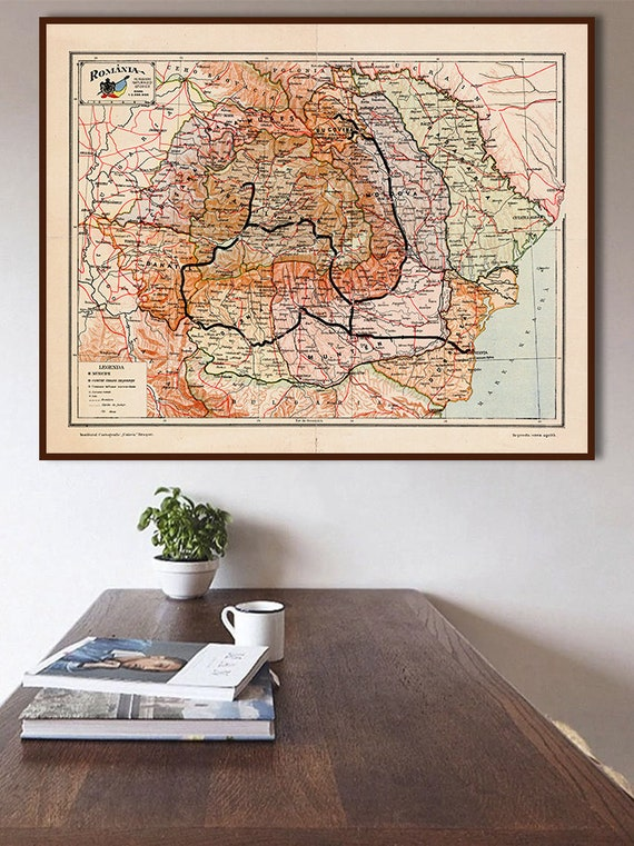 Romania Map 1939 Vintage Map Of Romania Harta Romaniei Etsy