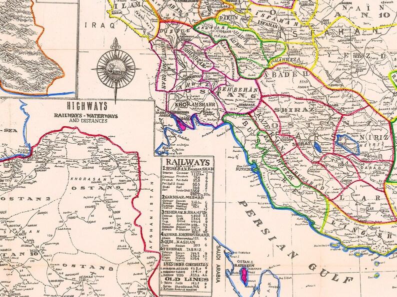 Persien Karte.Iran Karte Drucken 1960 Allgemeine Karte Von Iran Mit Kompletten Details Große Iran Wandkunst Druck Iranische Geschenk Iran Dekor Persien