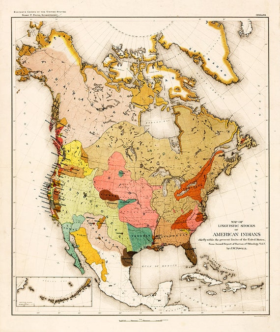 Indians of North America, 1890, Native Americans map, Indian tribes across  North America, Map of American Indians, Native american poster.