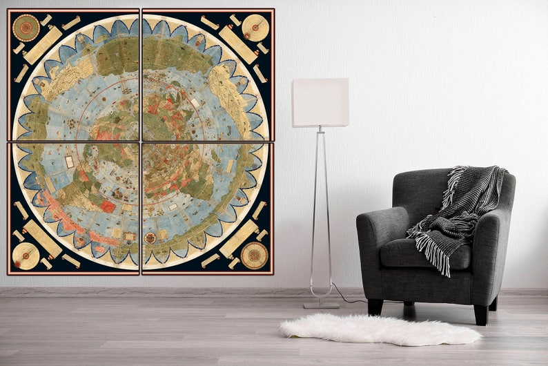 1587 World Map.Largest Known Early World Map 1587 Monumental Map Mythical Etsy