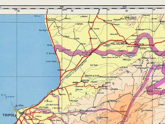 Sri Lanka Karte Zum Drucken.Libanon Karte Drucken Alte Landkarte Von Libanon 1950 Libanon Libanon Wand Karte Zeigt Topographie Und Politischen Grenzen Stadte Strassen Und