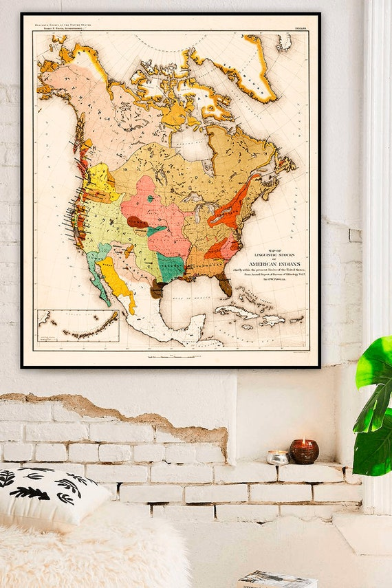 Native American map, 1890, tribes across North America, Map of linguistic  stocks of American Indians, Languages - Map - Art Print.