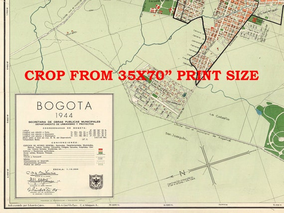 Bogota, Colombia 1944. Bogota MAP, Bogota Colombia map print on paper or  canvas.
