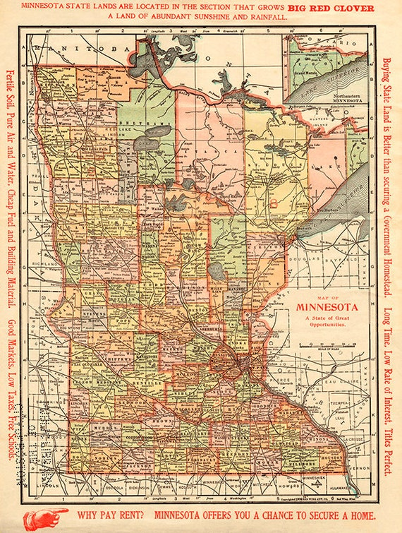 graphic about Printable Map of Minnesota identified as Outdated Minnesota map print, 1904.Map of Minnesota: a nation of outstanding options,Features marketing and advertising words and phrases inside of margins, Minnesota artwork print.
