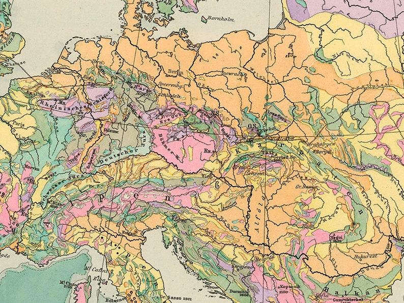 Geologic Map Of Europe.Geological Map Of Europe 1892 Europe Map Art Print Colorful Etsy