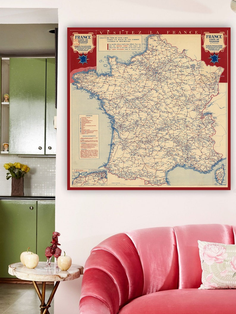 Map Of France For Tourists.France Map 1940 Carte De Tourisme Tourist Map Of France Tourist Attractions In France France Map Art Print France Poster France Travel