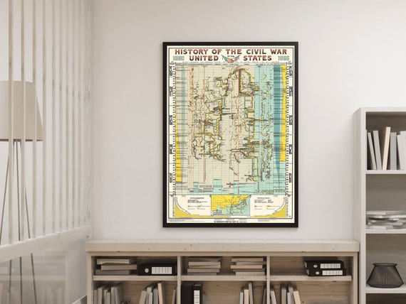 History of the Civil War in the United States, 1860-1865. Historical time  chart. United States - History - Civil War - War map.