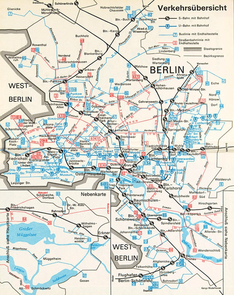1987 Subway Map.Berlin Map 1987 Berlin Subway System U Bahn During The Period Of The Berlin Wall East Berlin U S Bahn Berlin Map Print